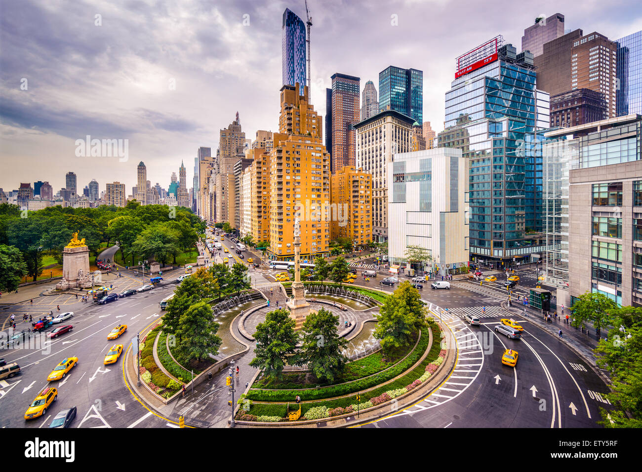 New York City, USA Stadtbild am Columbus Circle. Stockbild