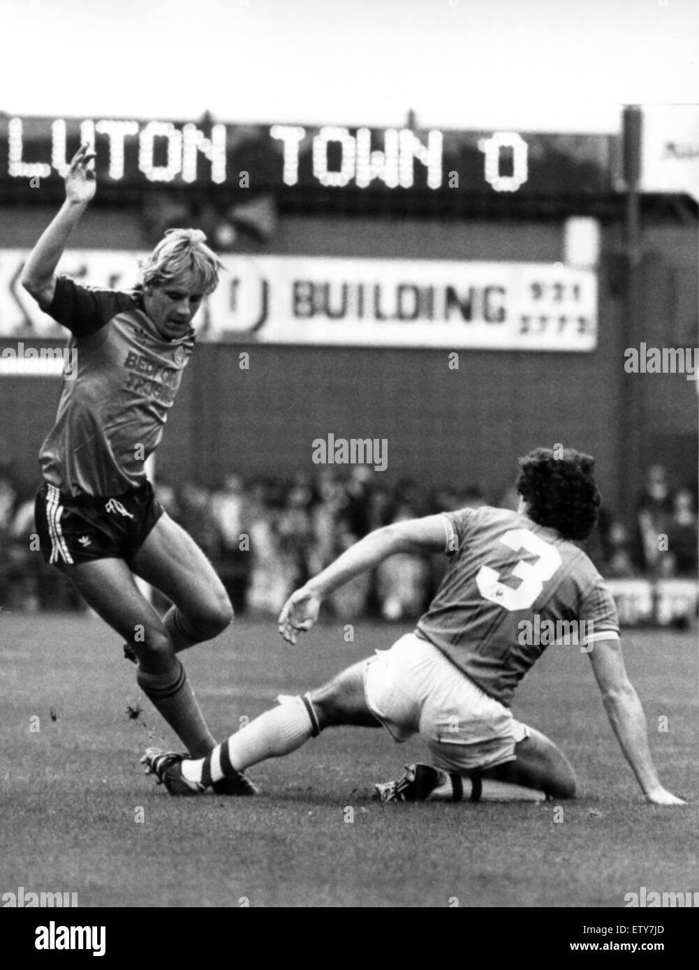 Everton 0 V Luton Town 1 alten First Division Spiel im Goodison Park. (Bild zeigt) Paul Walsh von Everton Verteidiger Stockbild