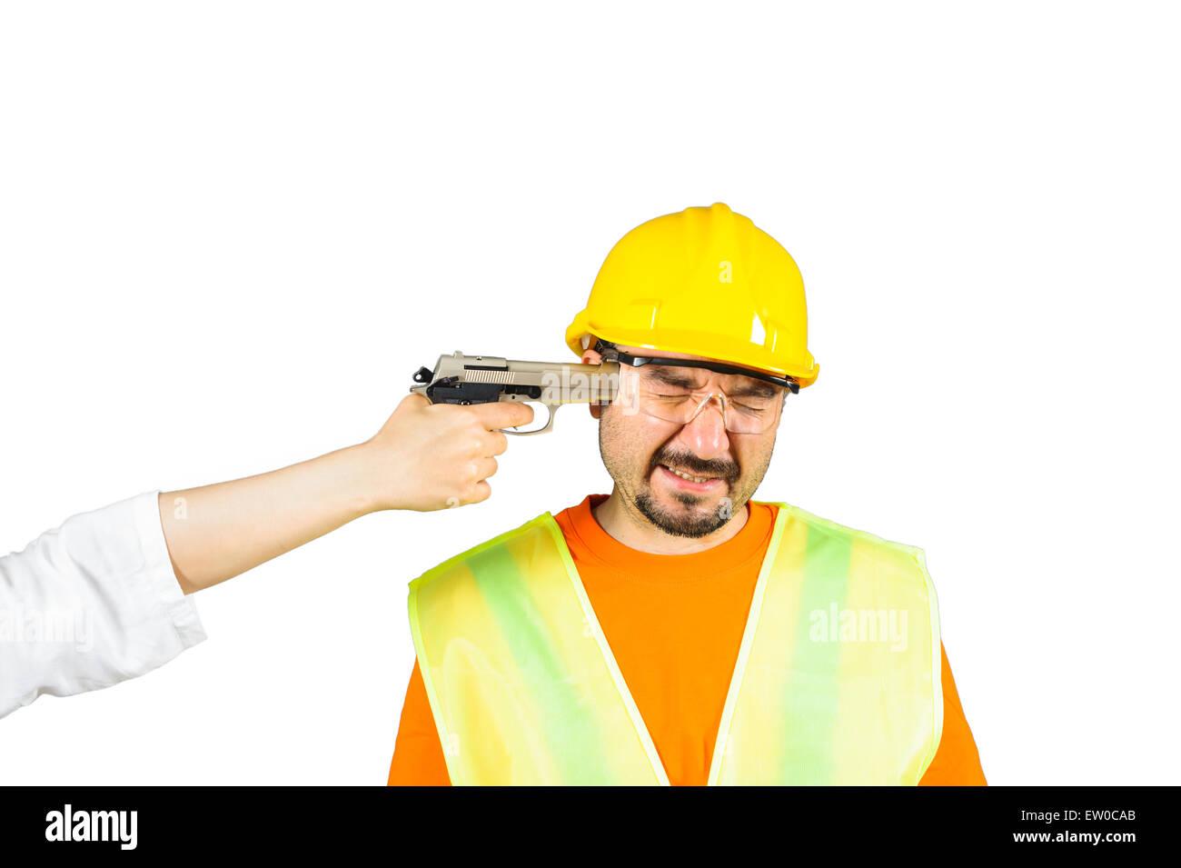 Arbeiter unter Androhung der Todesstrafe, Fragen zu arbeiten, die isoliert auf weiss Stockbild