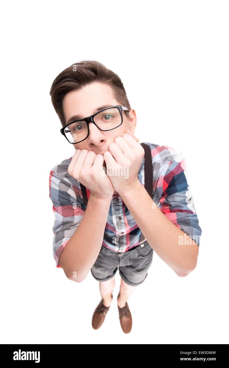 Nerd Brille und kariertes Hemd Stockbild
