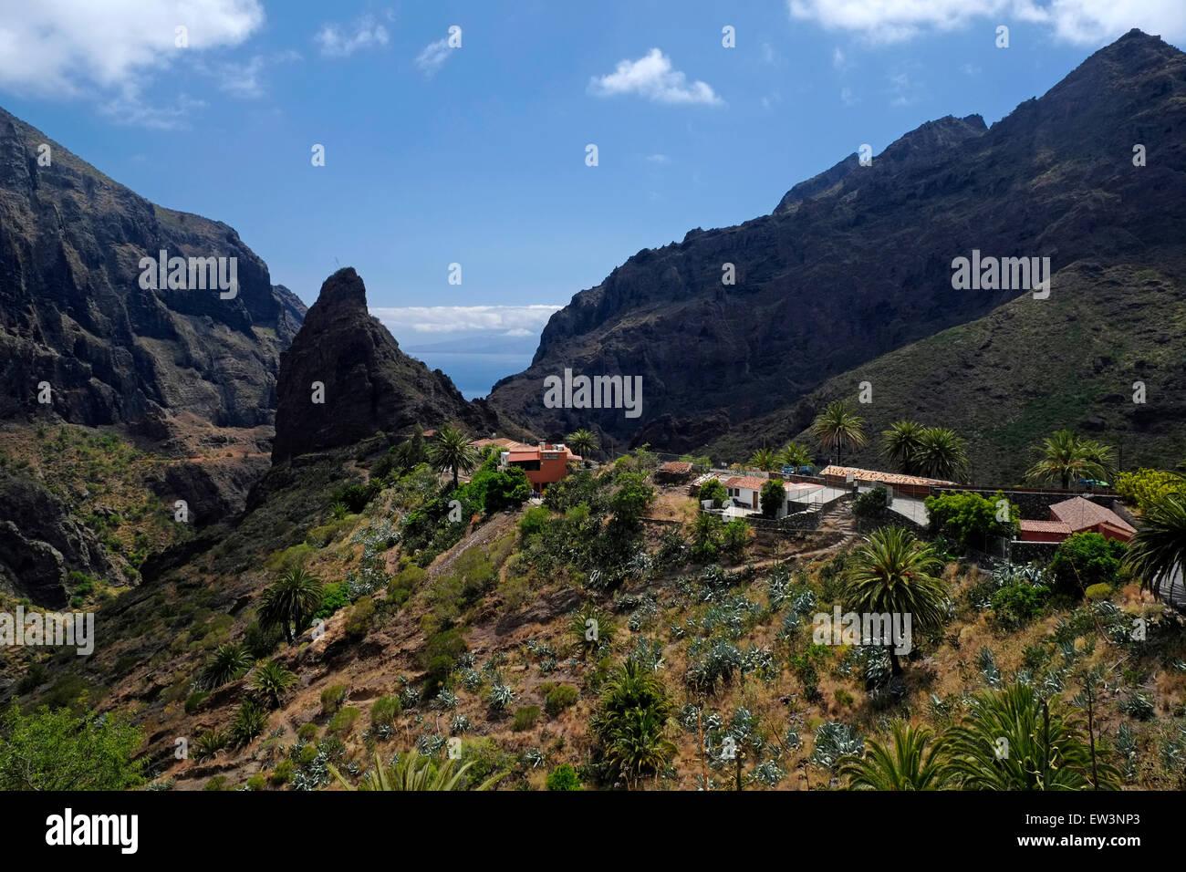 Malerische Aussicht tiefe Schluchten rund um die bergige Dorf Masca liegt in den Macizo de Teno-Gebirge im Norden Stockbild