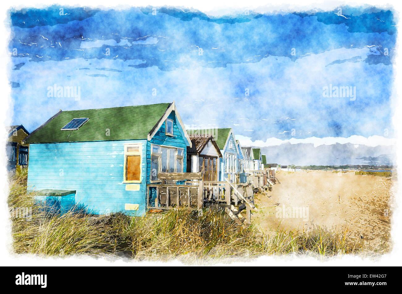 Bunte Strandhäuschen auf Mudeford Landzunge am Hengsibury Head in der Nähe von Christchurch in Dorset Stockfoto