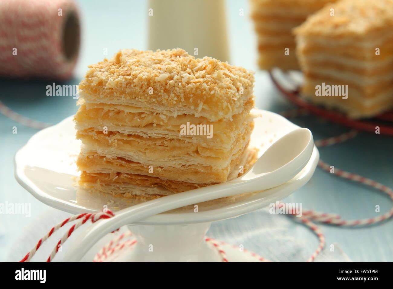 Stuck Von Napoleon Kuchen Schicht Kuchen Aus Blatterteig Mit