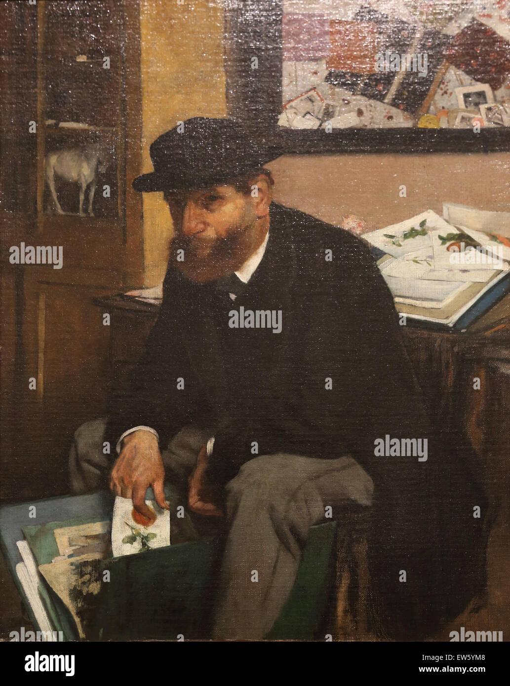 Edgar Degas (1834-1917). Französischer Maler. Der Sammler der Ausdrucke, 1866. Öl auf Leinwand. Metropolitan Stockbild