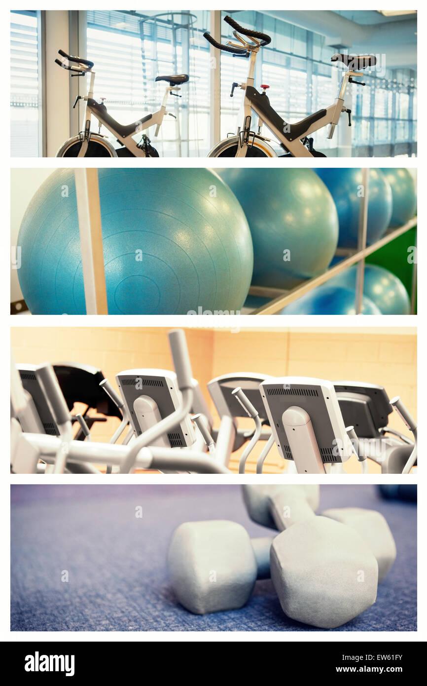 Zusammengesetztes Bild des Spin-Bikes im Fitness-studio Stockbild