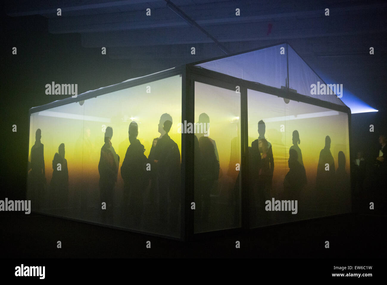 """Besucher betrachten Sie eine Installation mit dem Titel """"Insideout"""" von Flora & Faunavisions, Leigh Stockbild"""