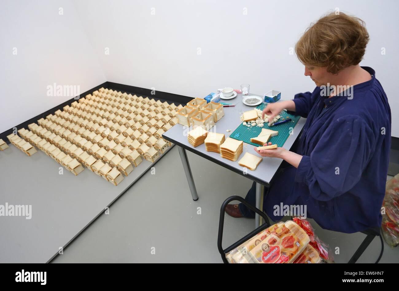 Würzburg, Deutschland. 18. Juni 2015. Künstlerin Alice Musiol Formen ...