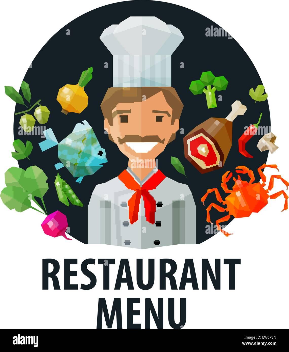 Speisekarte, Restaurant-Vektor-Logo-Design-Vorlage. Koch, Essen oder ...
