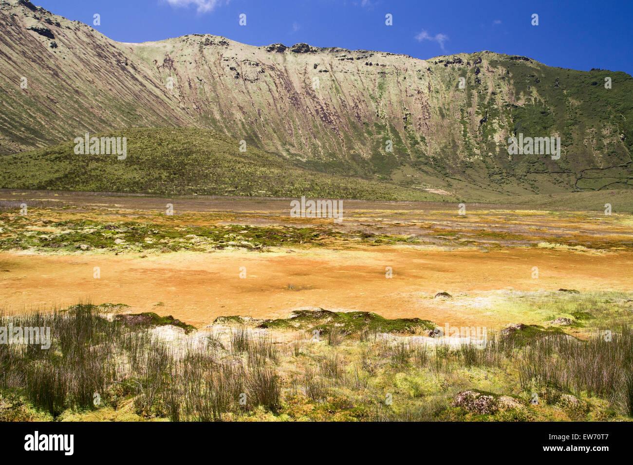 Landschaft, genommen in den Vulkankrater Corvo Insel auf den Azoren, portugal Stockbild