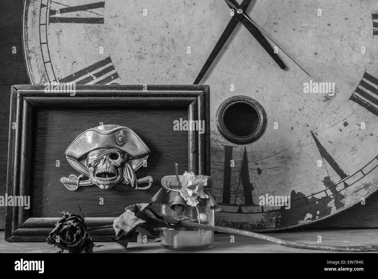 Bild Rahmen Schädel auf einem schwarzen und weißen Hintergrund ...