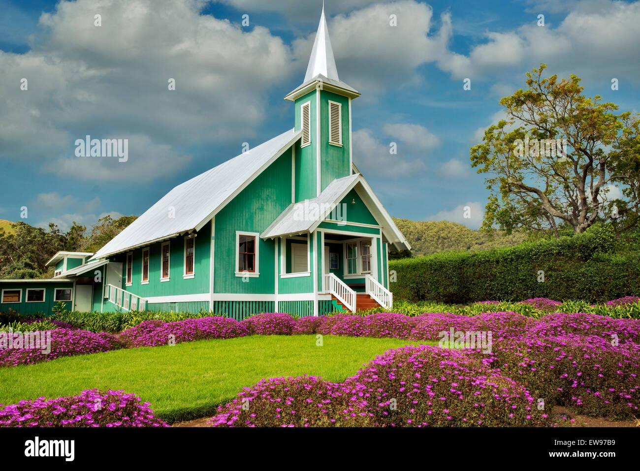 Keola Mauloa Kirche. Waimea, Hawaii, Big Island Stockbild