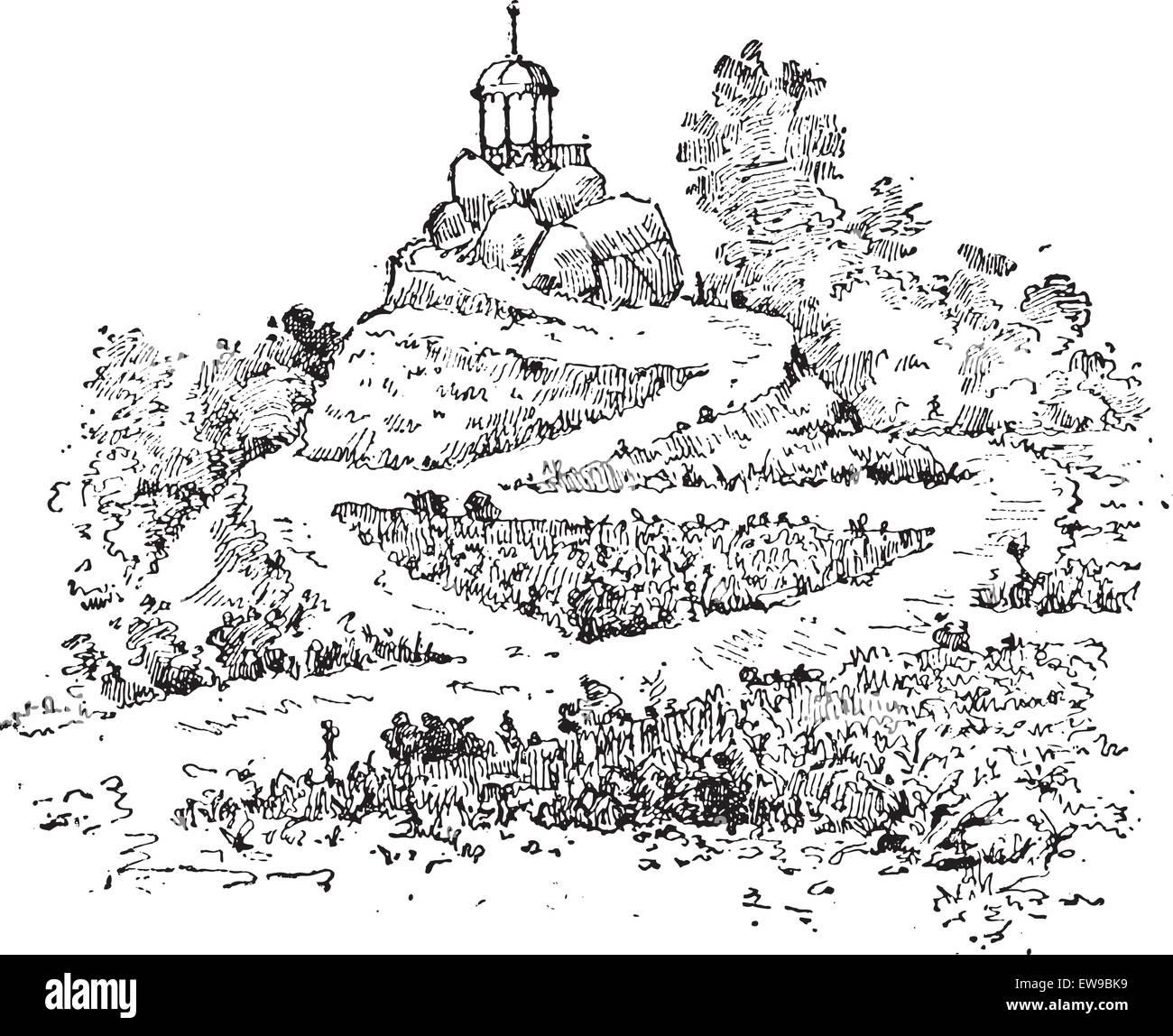 Labyrinth in einem Garten, Vintage graviert Abbildung. Wörter und Sachen - Larive und Fleury - 1895. Stock Vektor