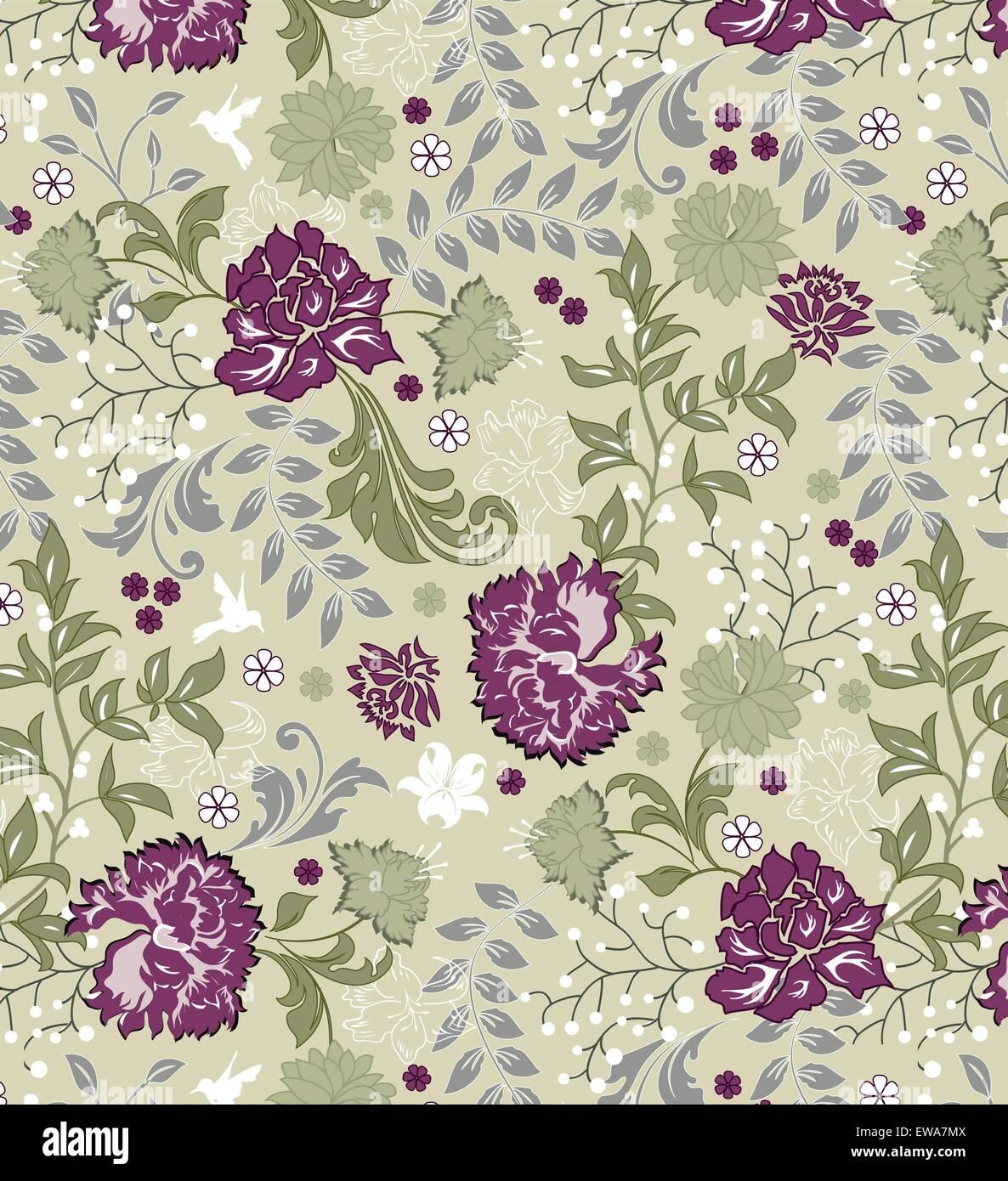 Vintage-Hintergrund mit reich verzierten eleganten Retro-abstrakten floralen Design, mehrfarbige Blüten und Stockbild