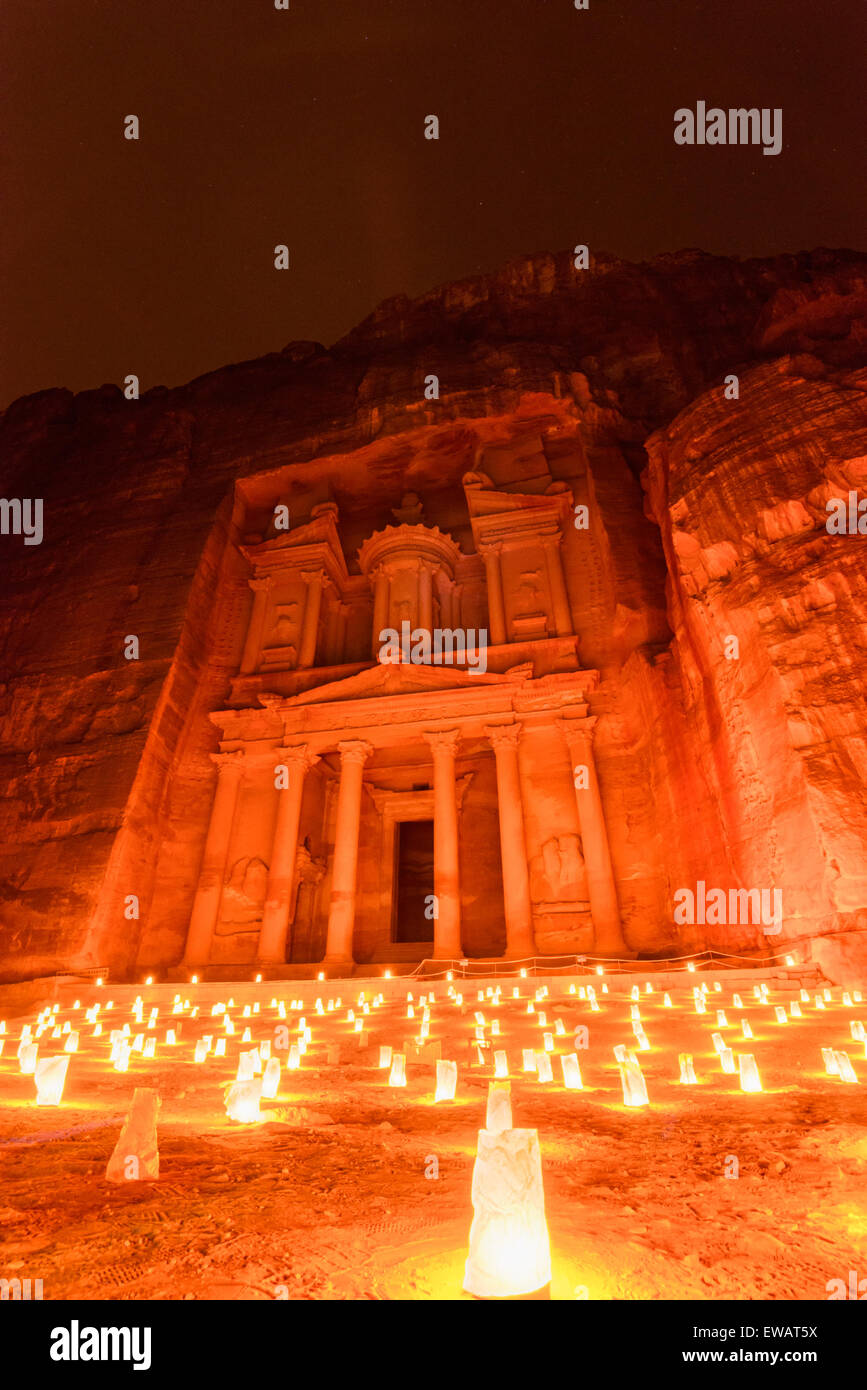 Petra bei Nacht Stockfoto