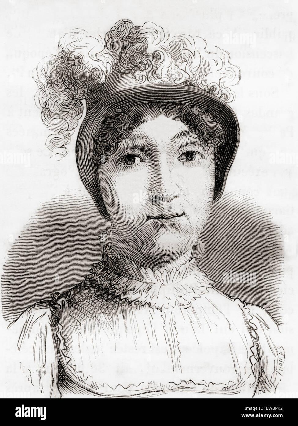 Sophie Blanchard, auch bekannt als Madame Blanchard, 1778 – 1819.  Französischer Luftschiffer und die Ehefrau von Ballonfahren Pionier Jean-Pierre Blanchard. Blanchard wurde die erste Frau als eine professionelle Ballonfahrer zu arbeiten und die erste Frau in einem Flugzeugunglück getötet werden. Stockfoto