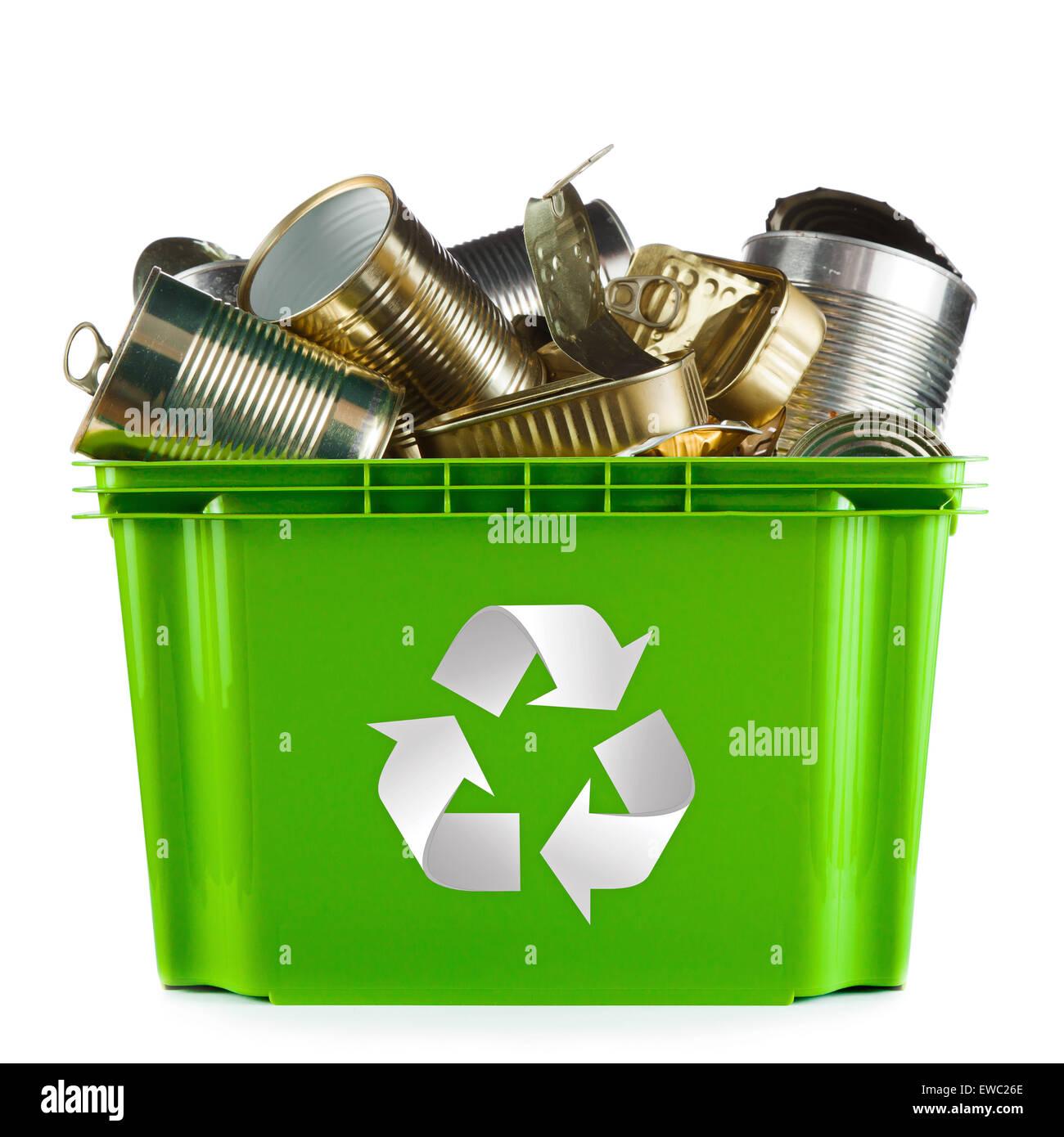 Recycling-Konzept - bin voller leere Metalldosen Stockbild