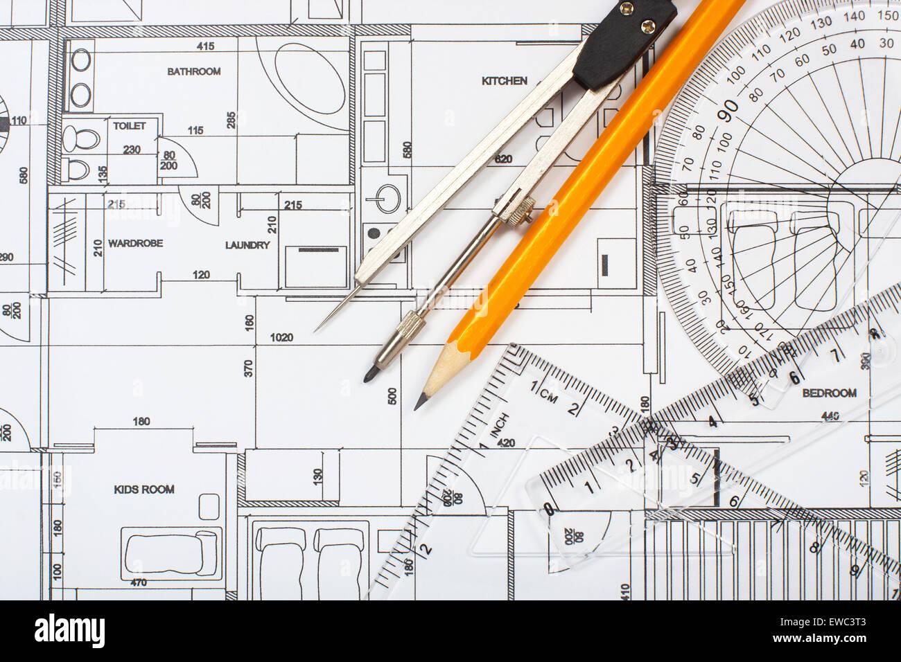 Architekturplan, Bleistift und Lineal Stockbild