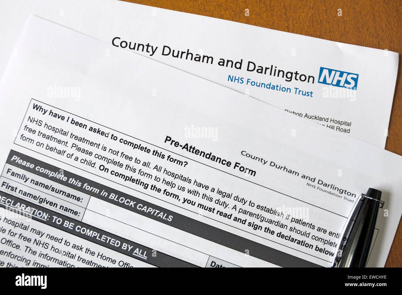 Pre-Teilnahme Formular müssen die werden Patienten behandelnden Krankenhaus Check abgeschlossen, wenn sie auf Stockbild