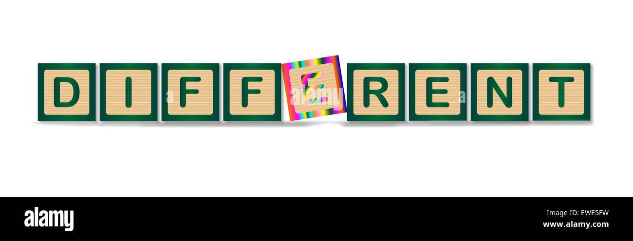 Eine Sammlung von Holzklötzen, die Rechtschreibung, das Wort anders Stockbild