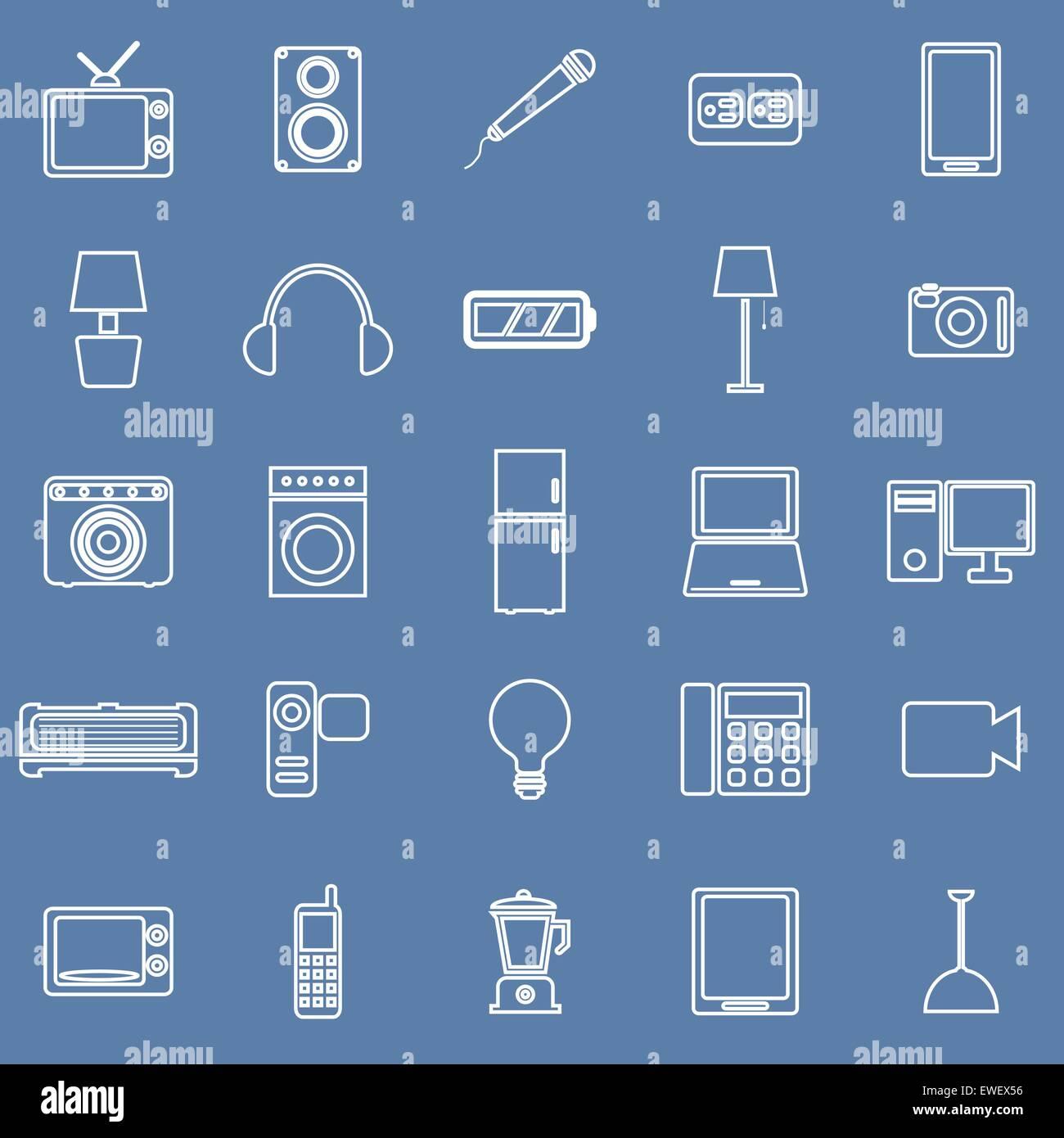Elektrische Maschine Linie Symbole auf blauem Hintergrund, Lager ...