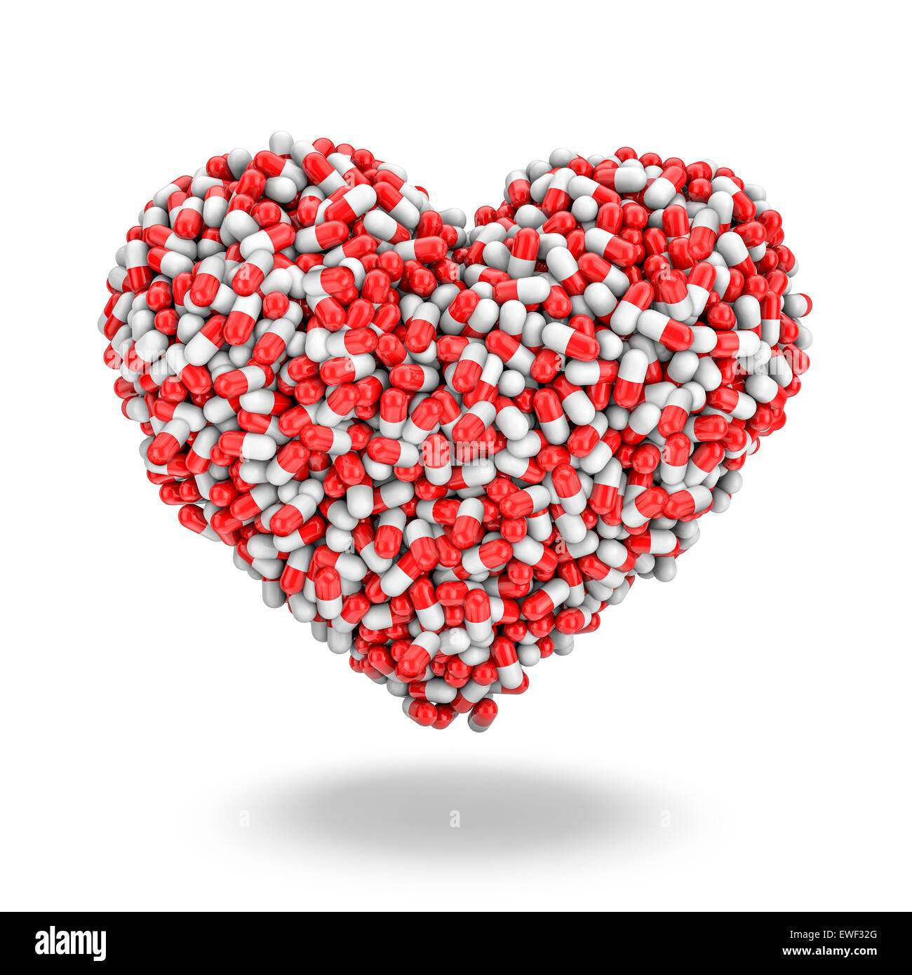 Herz-Pillen, 3D Rendern von Medizin-Kapseln bilden Herz Stockfoto