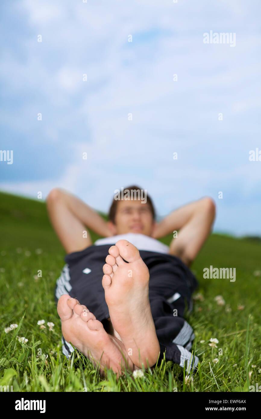 Mannes Fuß Stockbild