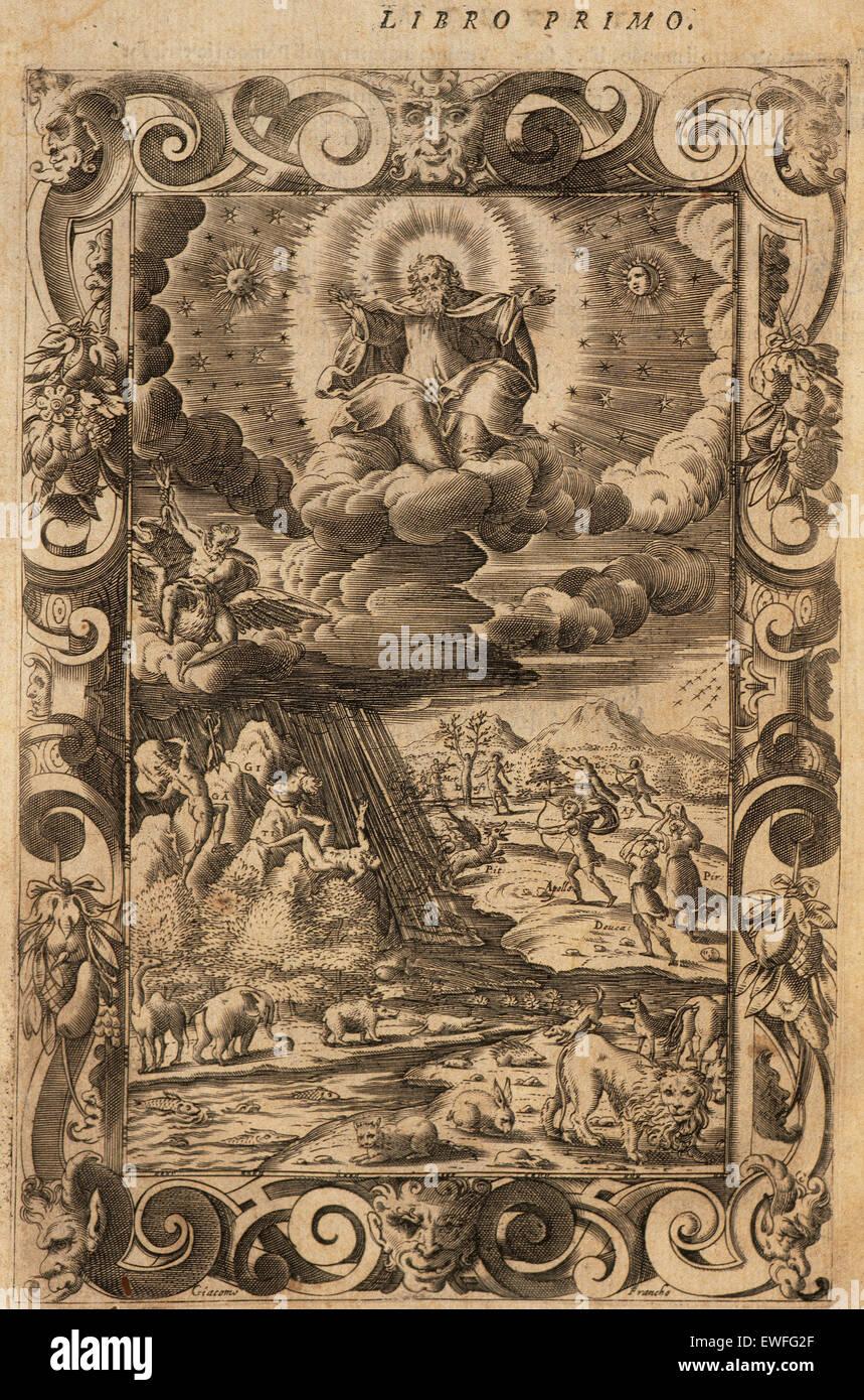 Ovid (Publius Ovidius Naso) (43 v. Chr. - 17 n. Chr.). Lateinische Dichter. 2-20:00 Metamorphosen. Buch I. Gravur Stockfoto