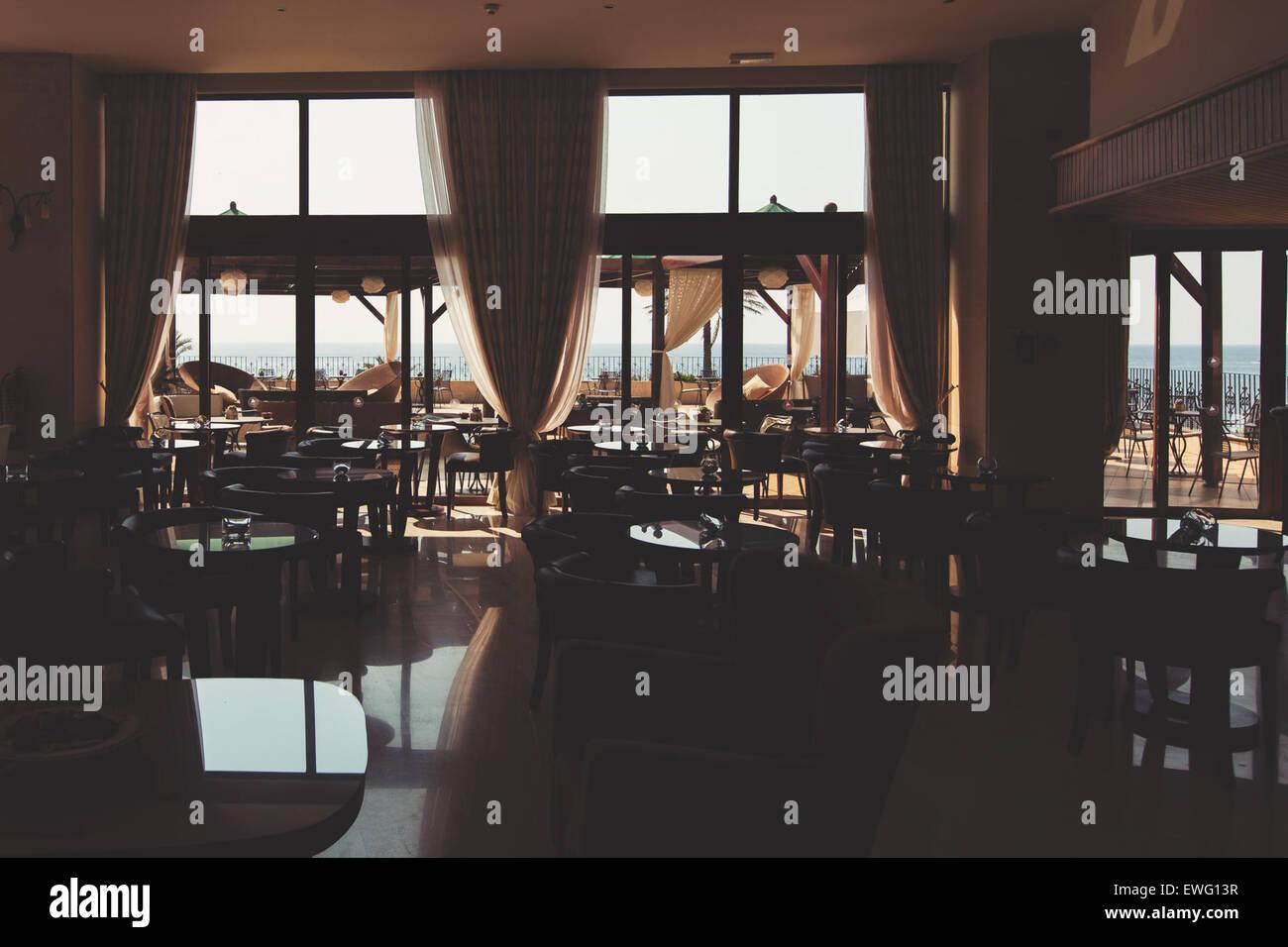 Indoor feine Restaurants Einrichtung Stockbild