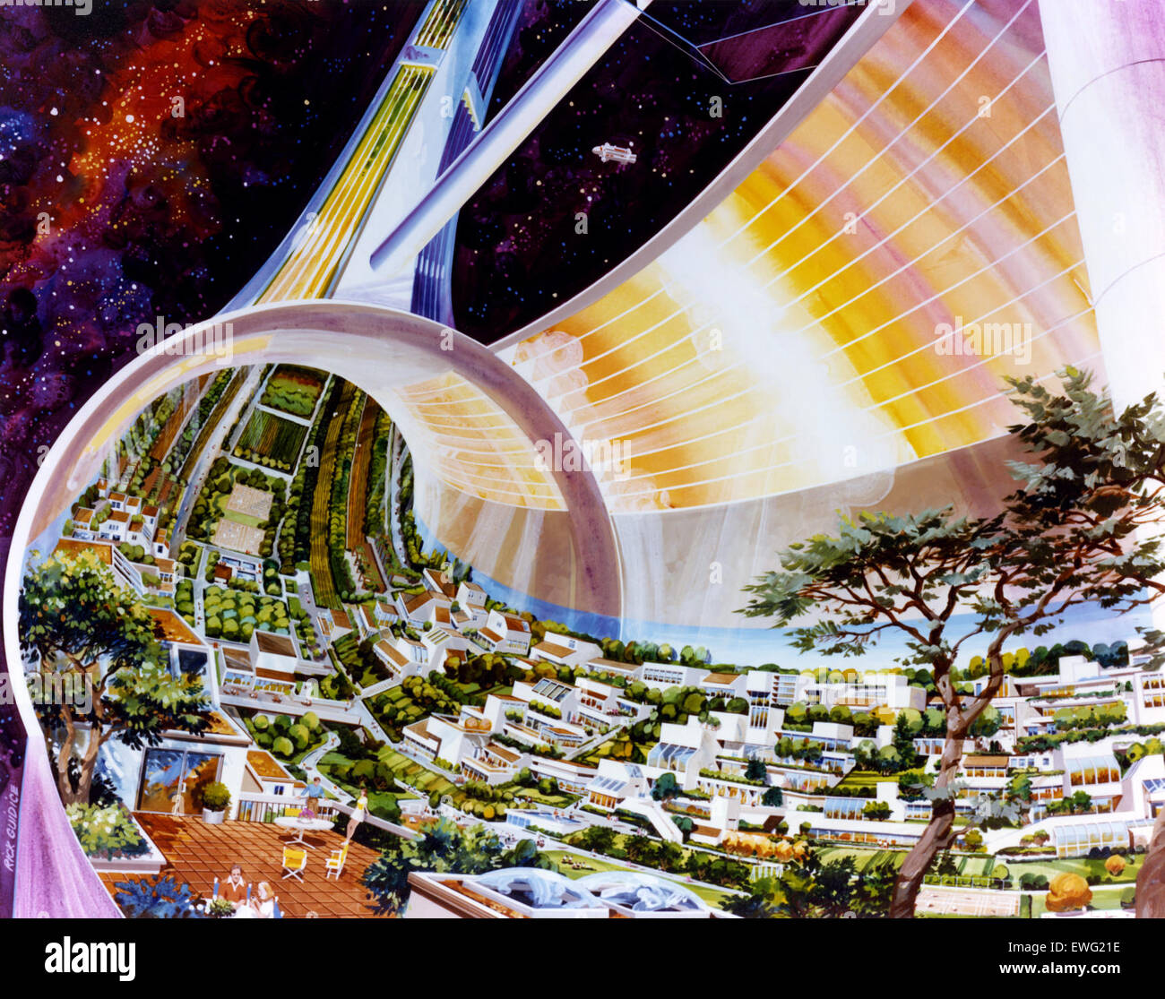 NASA Space Art Raum Kolonisation Raum Kolonie Raum Kolonie Illustration Illustration Space Colony Art aus den 1970er Stockbild
