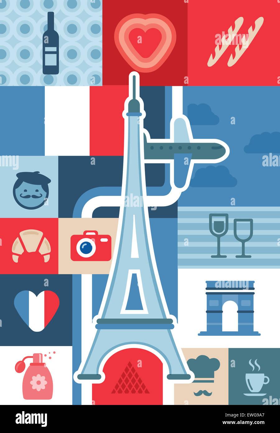 Illustrative Collage aus Stadtleben und Sehenswürdigkeiten in Paris, Frankreich Stockfoto