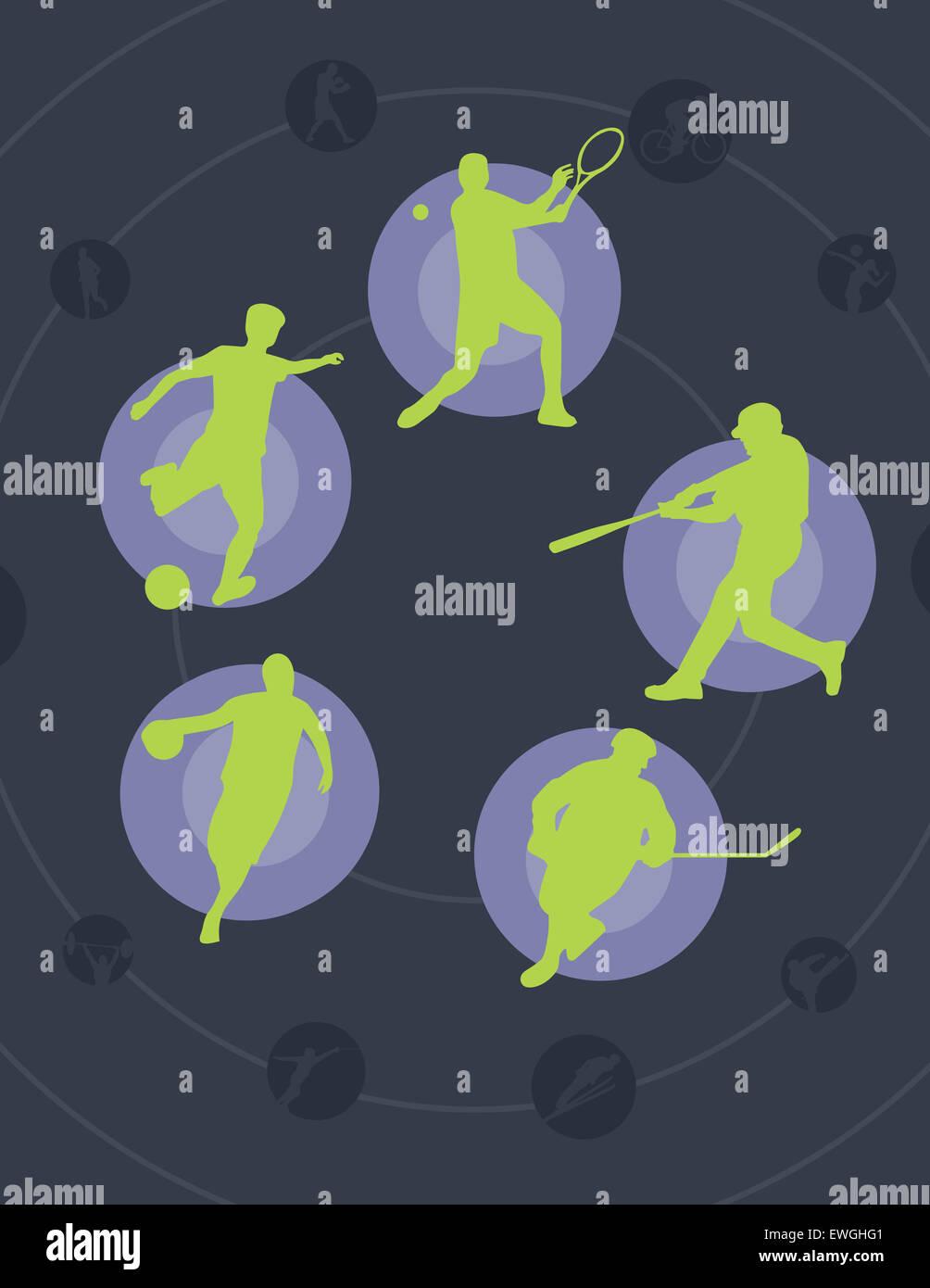 Abbildung Bild der universal Ball-Spiele, die Männer spielen Stockbild