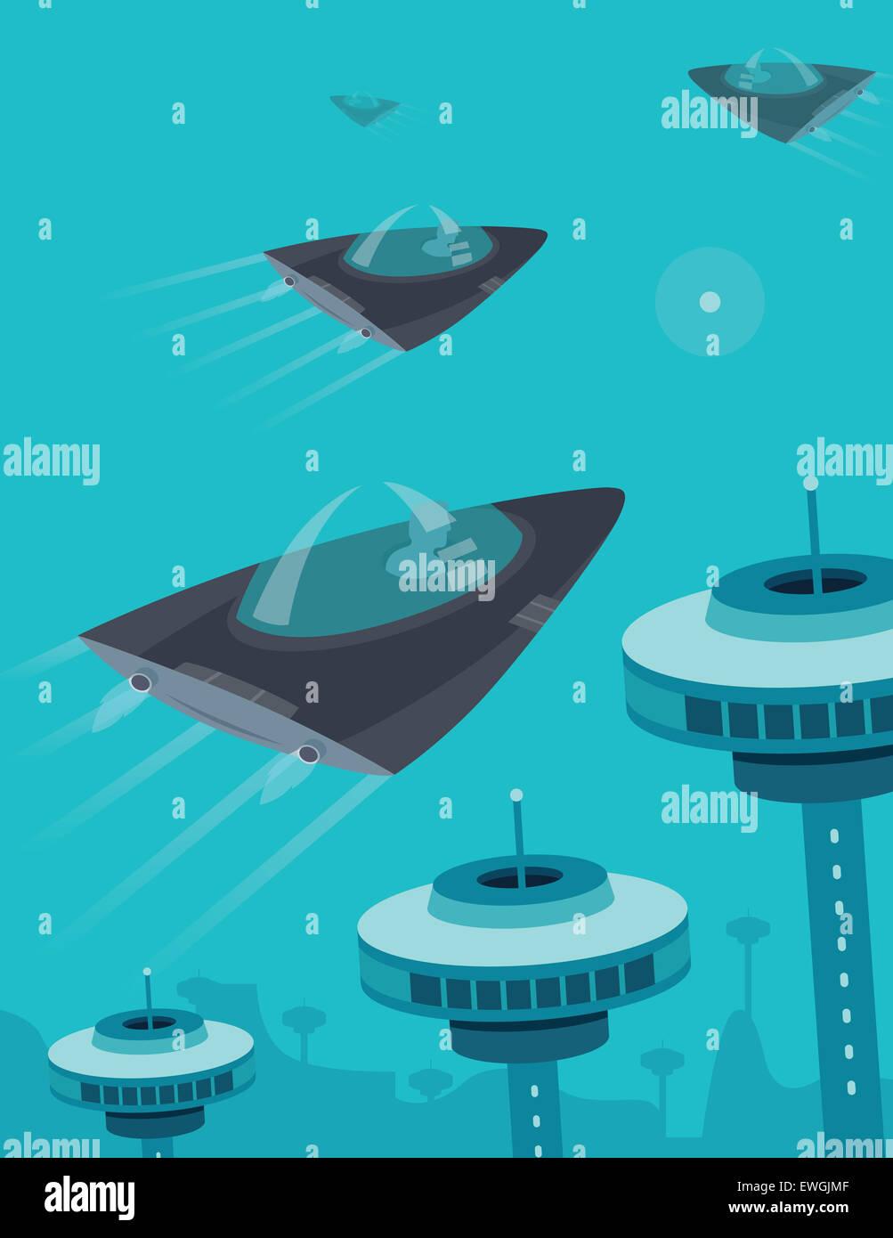 Raumschiff fliegen im Raum über Türmen Kommunikation Stockbild