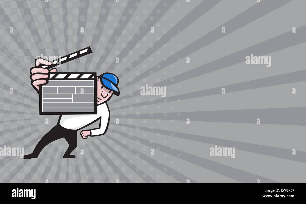 Visitenkarte mit Cartoon Illustration ein Film-Regisseur hält eine ...