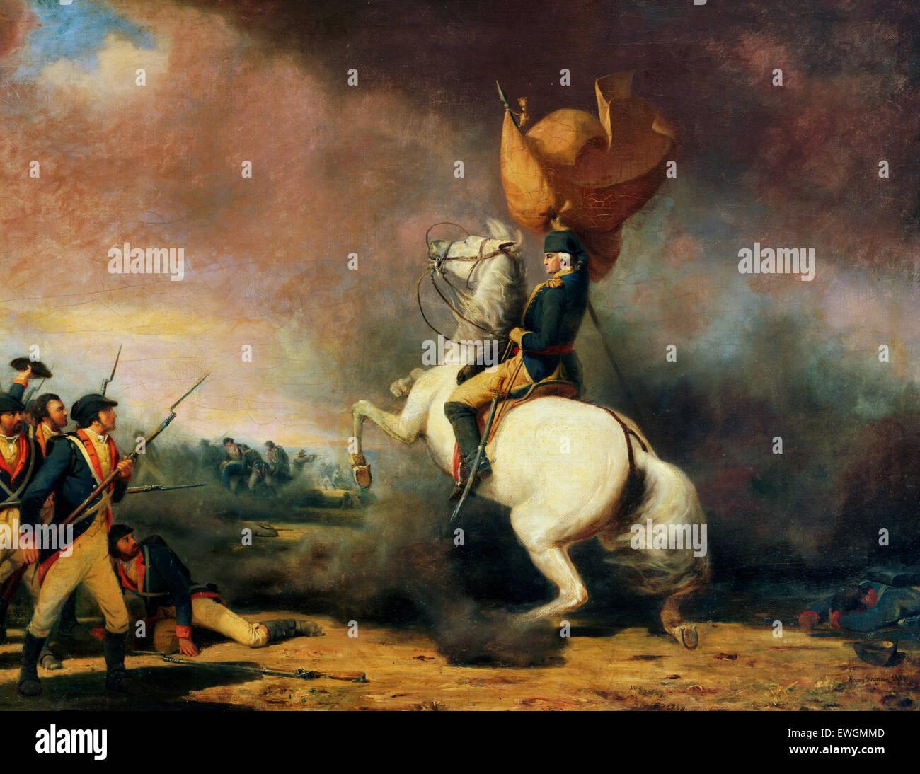 General George Washington seine Truppen bei der Schlacht von Princeton Rallyesport.  1777 William Tylee Ranney Stockbild
