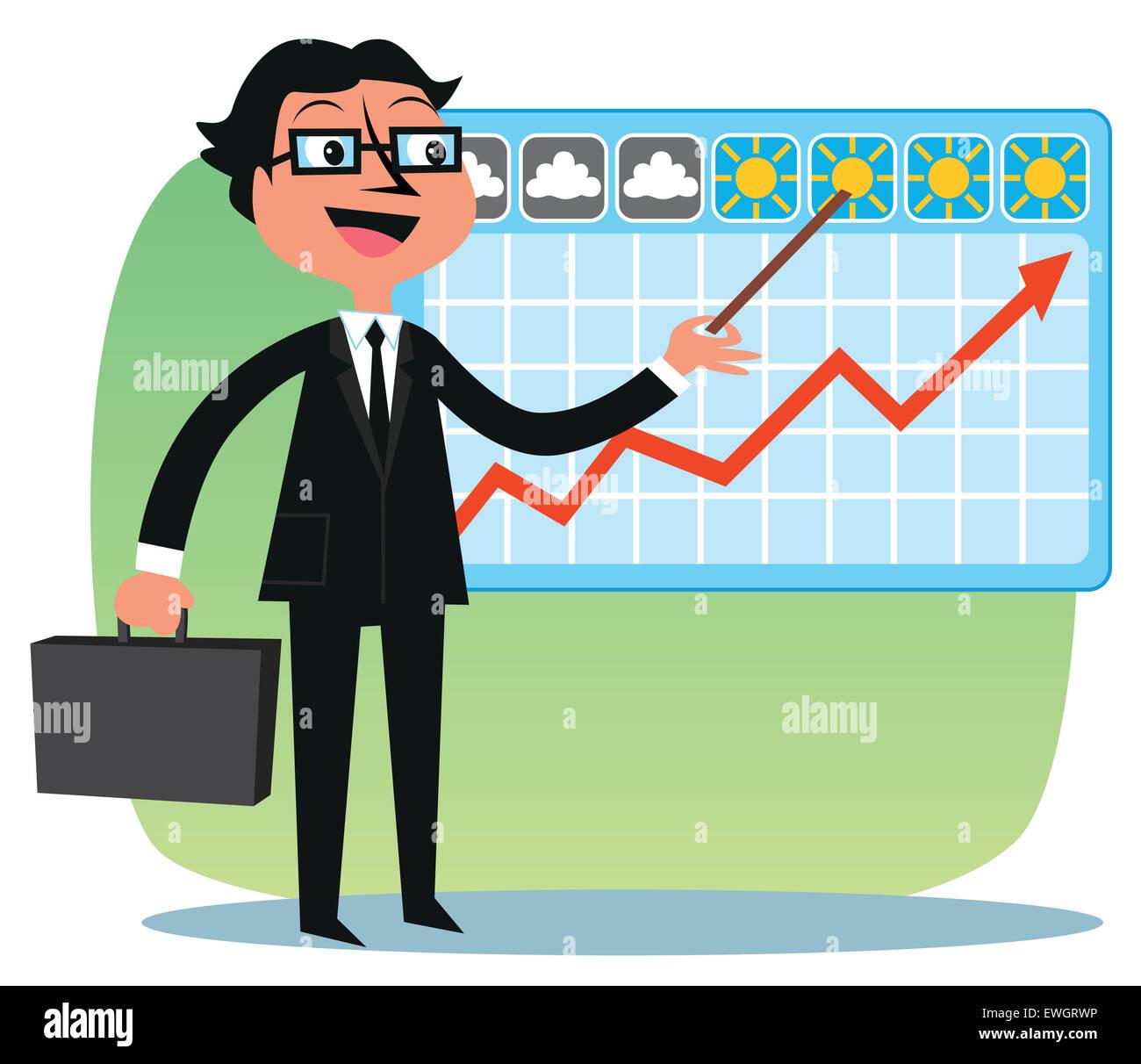 Business Analyst zeigt die finanziellen trends Stockbild