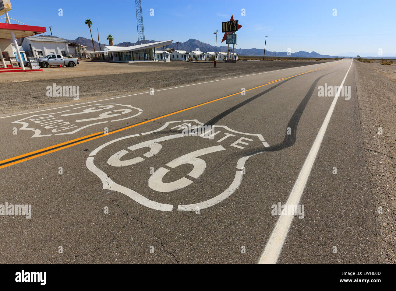 Amboy auf der Route 66, Kalifornien, USA. Stockfoto