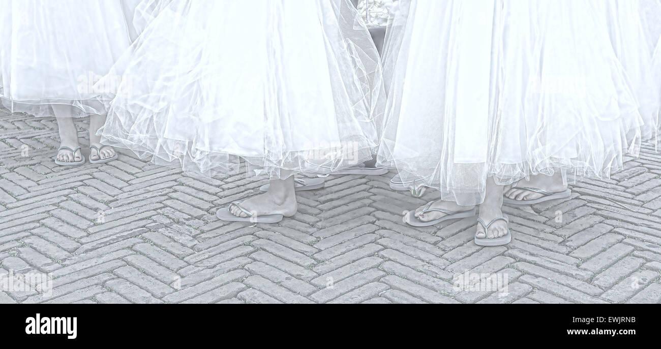 Kleine Mädchen verkleidet als Brautjungfern, Teilnahme an einer ...