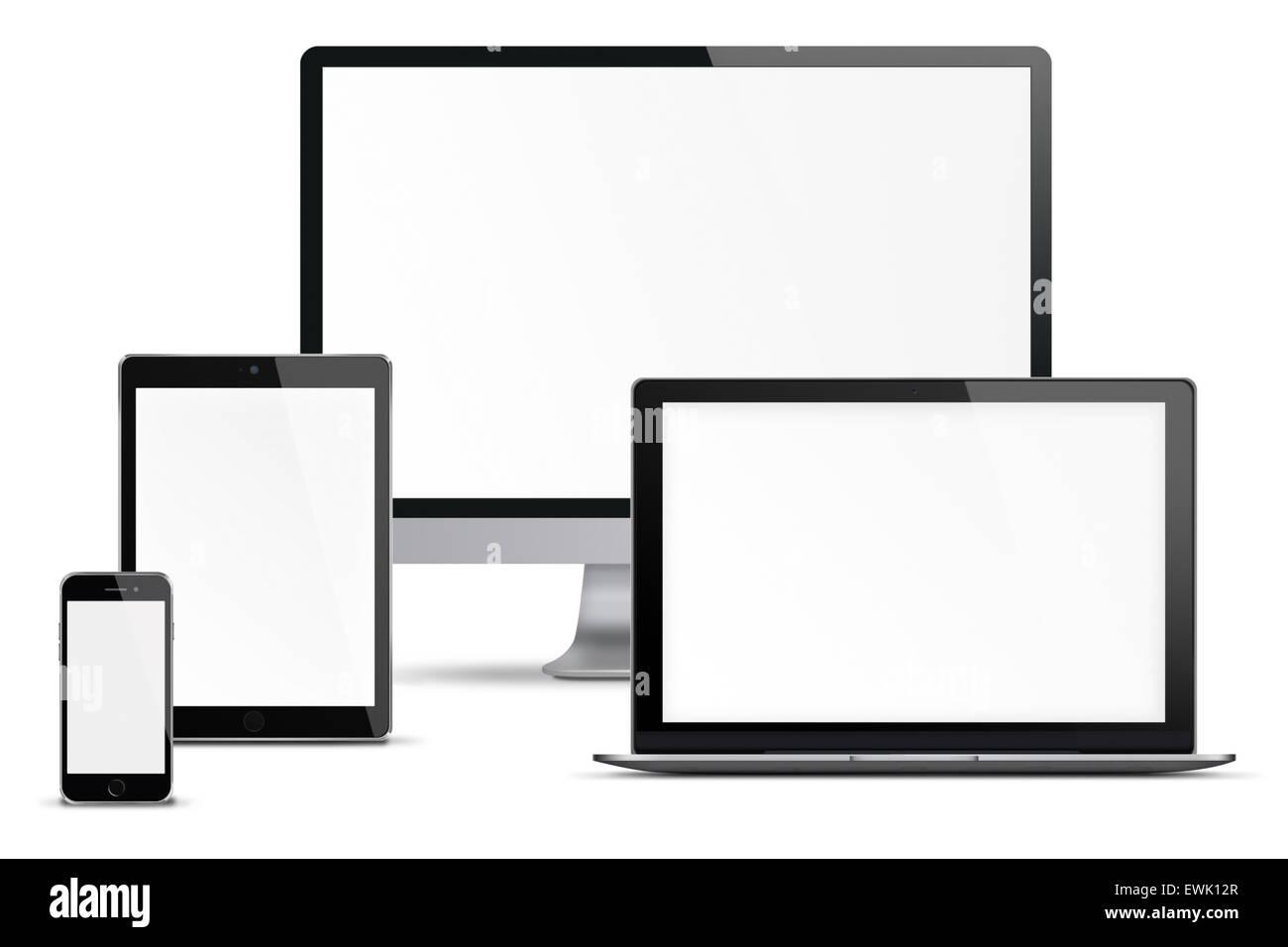 computer monitor handy smartphone laptop und tablet pc mit unbelegten schirm isoliert auf. Black Bedroom Furniture Sets. Home Design Ideas