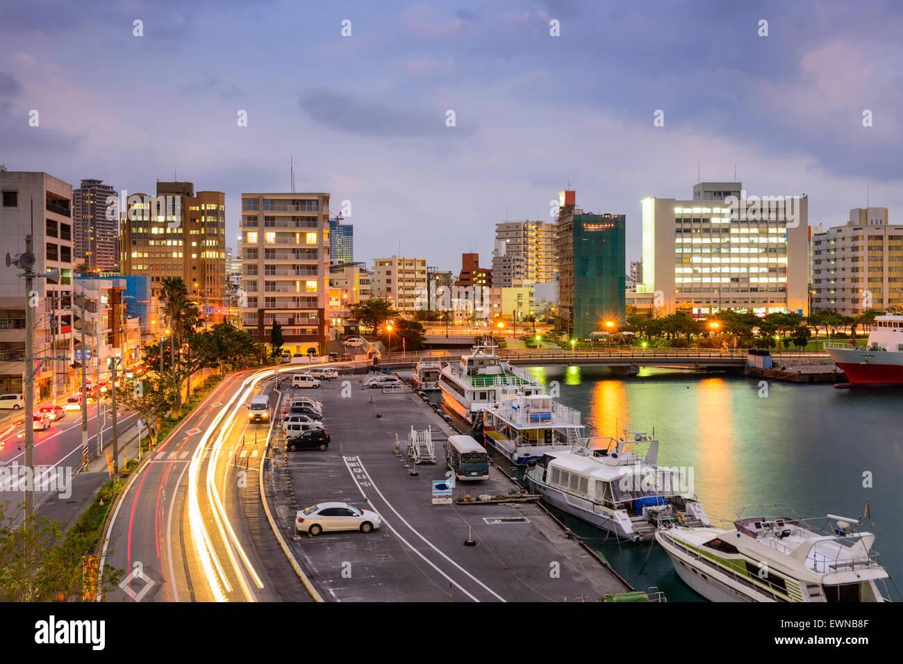 Naha, Okinawa, Japan Stadtbild Tomari Hafen. Stockbild