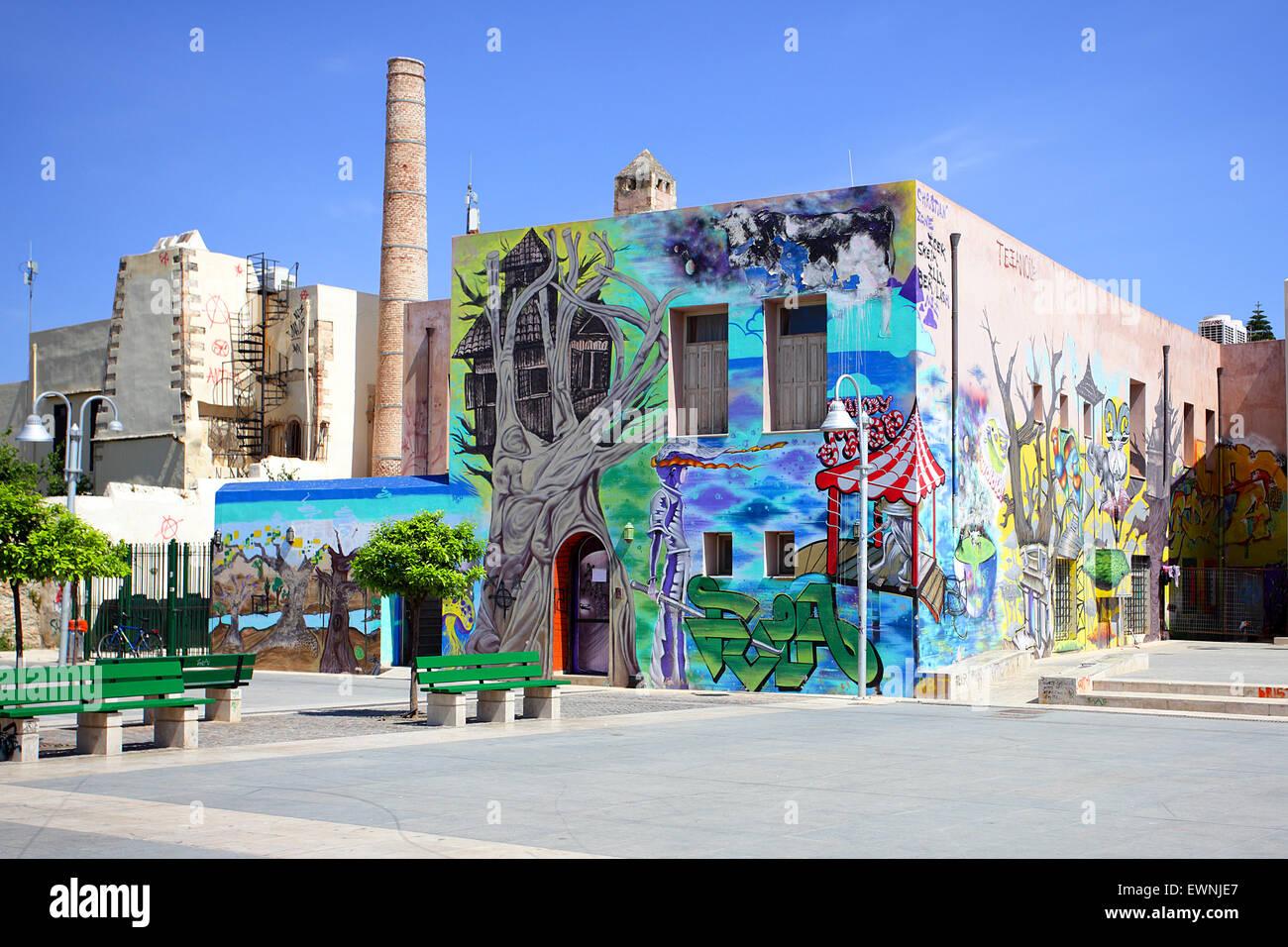 """Farbenfrohe Wandgemälde in """"Christliche Zone' in Rethymnon. Neben dem Nerantze Moschee, die nicht Stockbild"""
