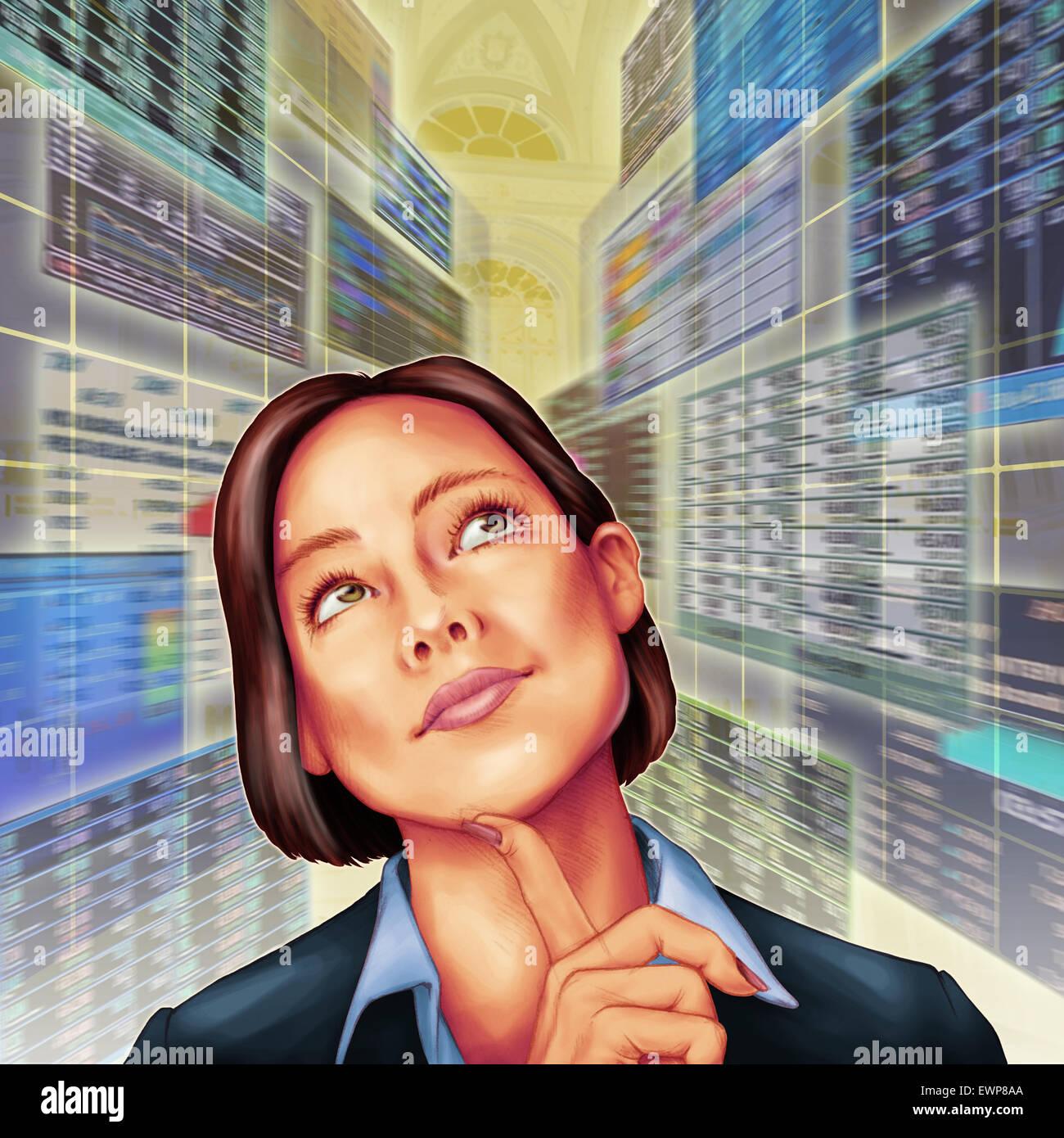 Anschauliches Bild der Geschäftsmann Tagträumen im Serverraum Stockbild