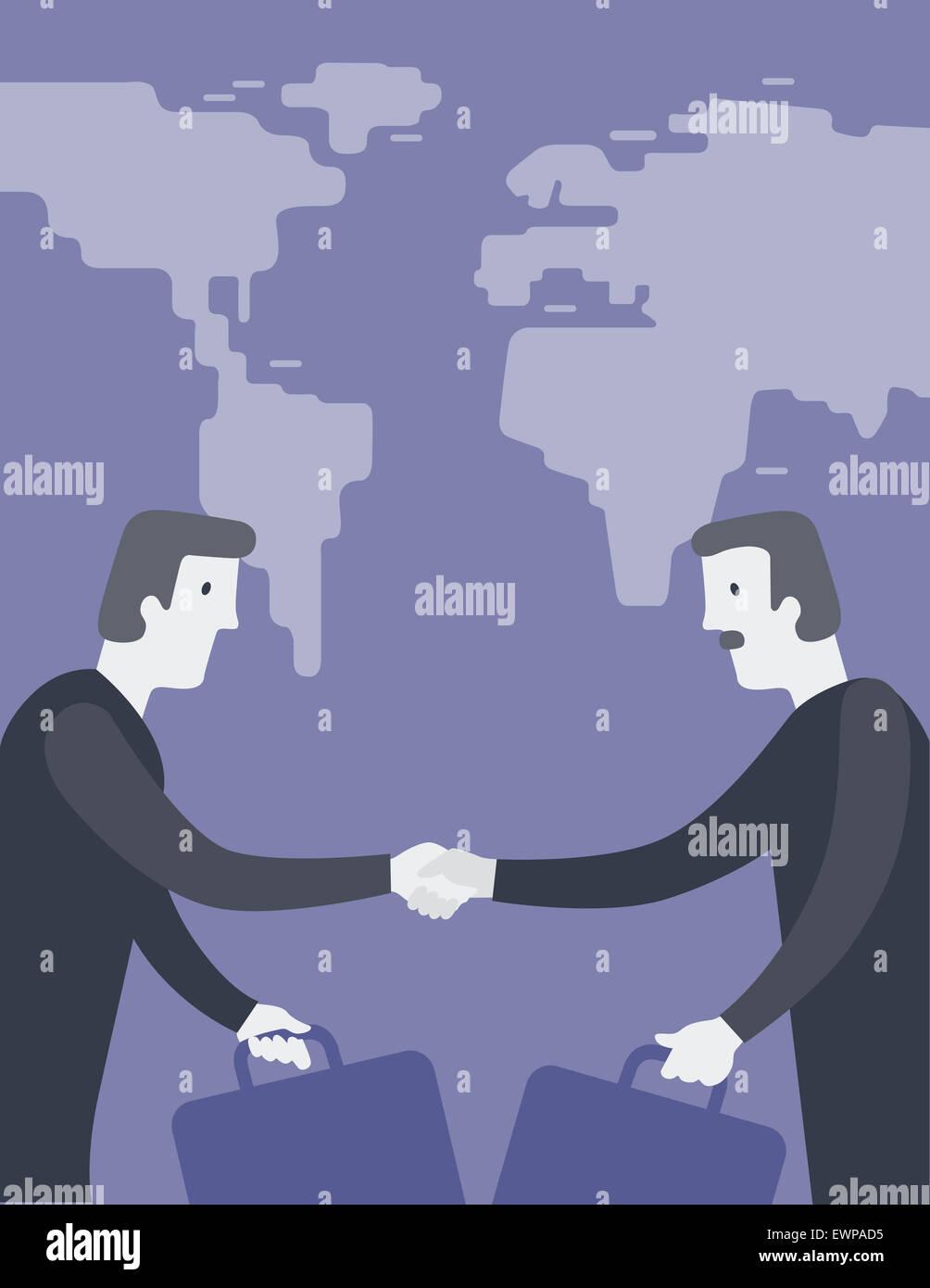 Höhenplan von zwei Geschäftsleute Händeschütteln Stockbild