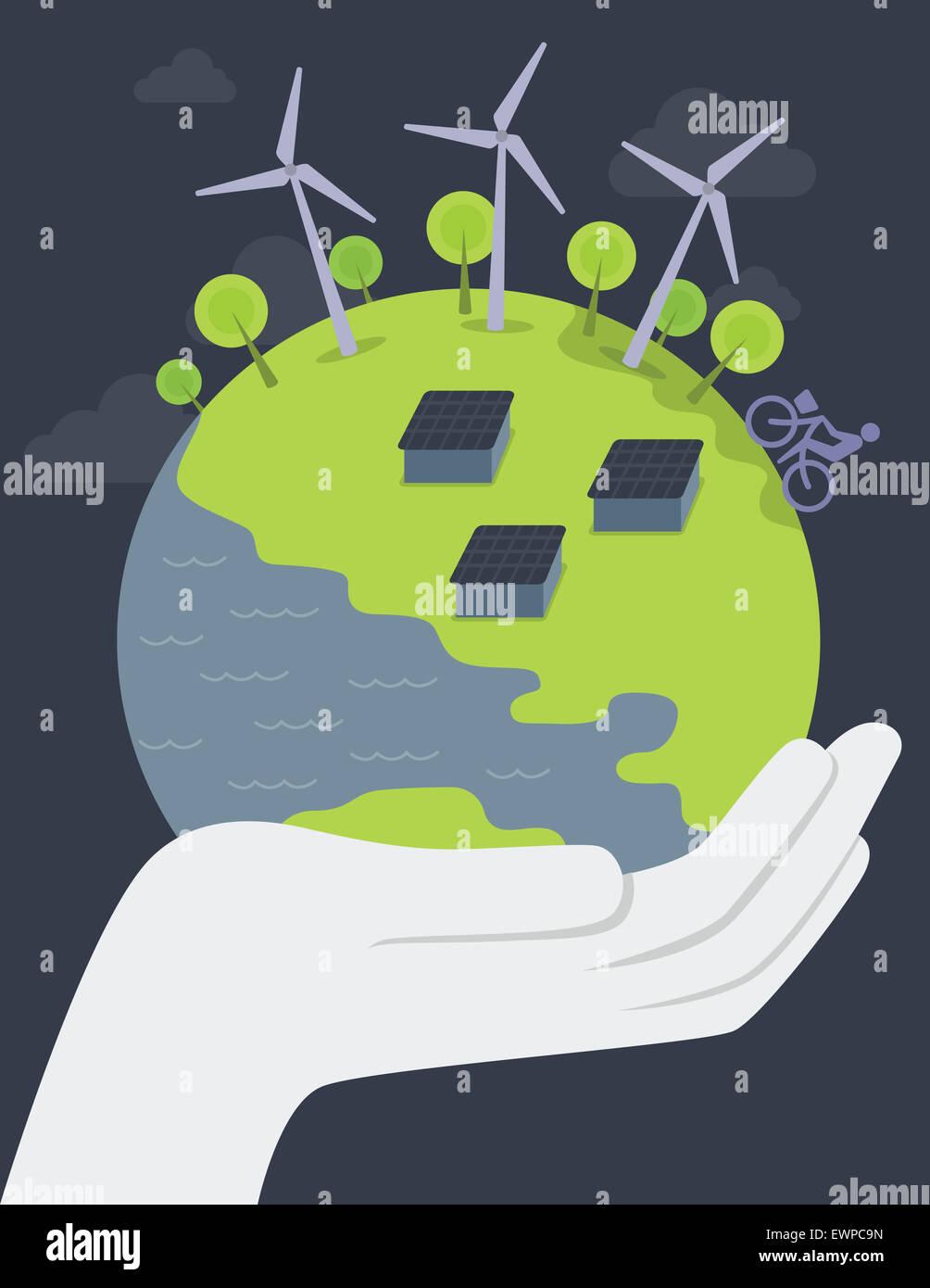Anschauliches Bild der menschlichen Hand, die Welt repräsentieren Konzepte der Erde retten Stockbild