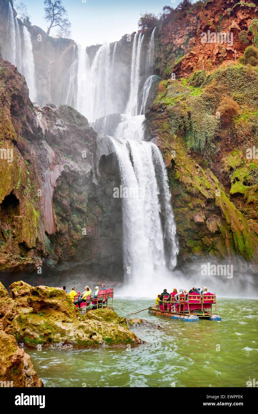 Rafting am Ouzoud Wasserfall. Hoher Atlas, Marokko Stockfoto