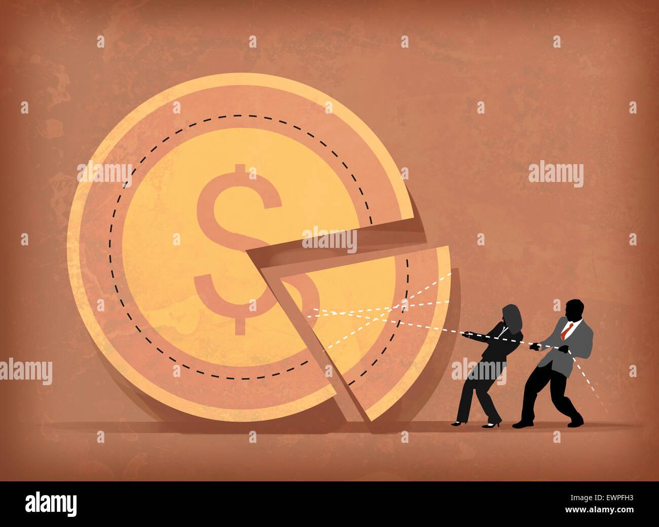 Anschauliche Darstellung von Geschäftsleuten teilen Anreiz Stockbild