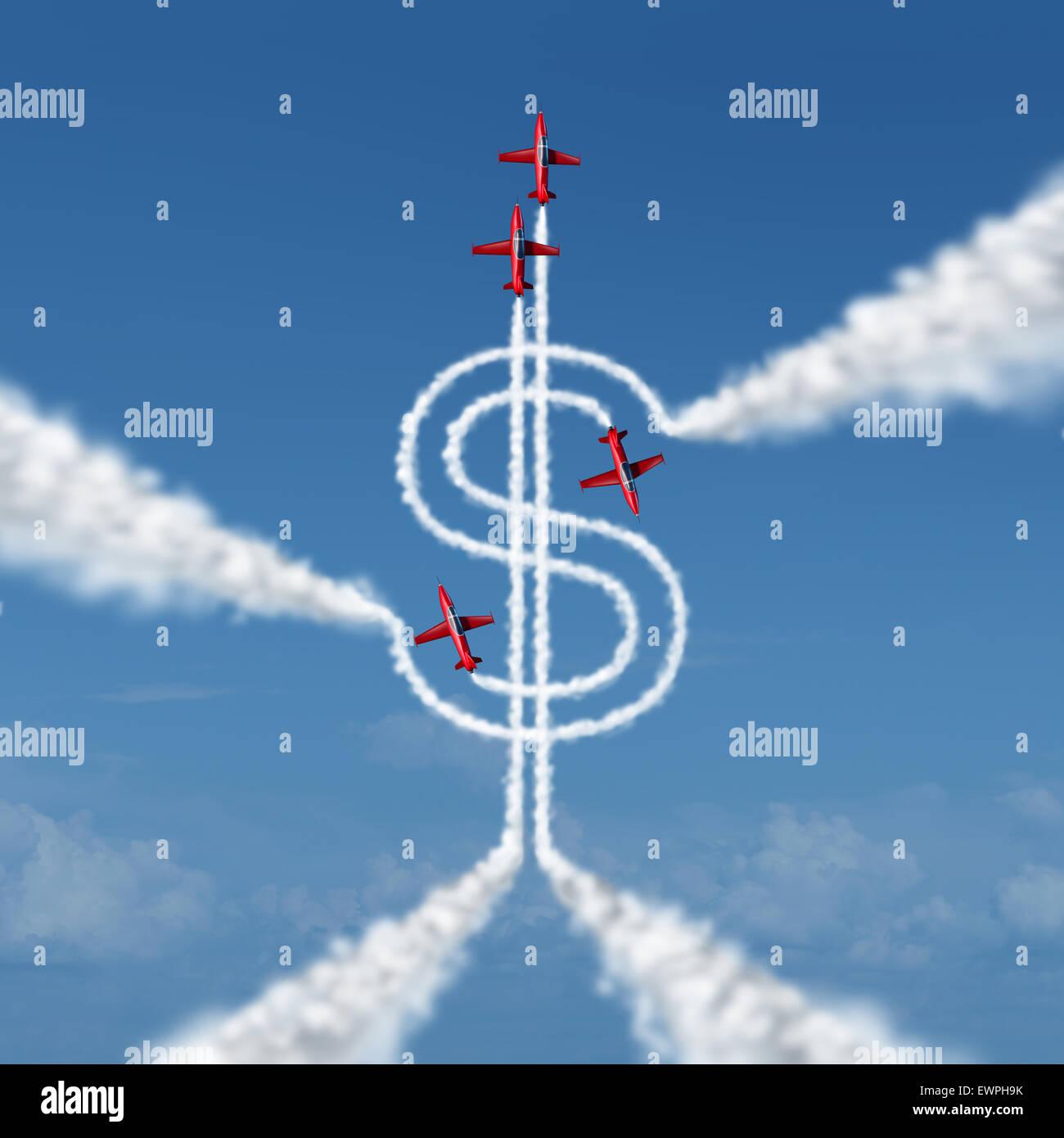Geld Leistung Konzept als eine Gruppe von akrobatische Düsen in ein Airshowor Flugzeuge fliegen in den Himmel Stockbild