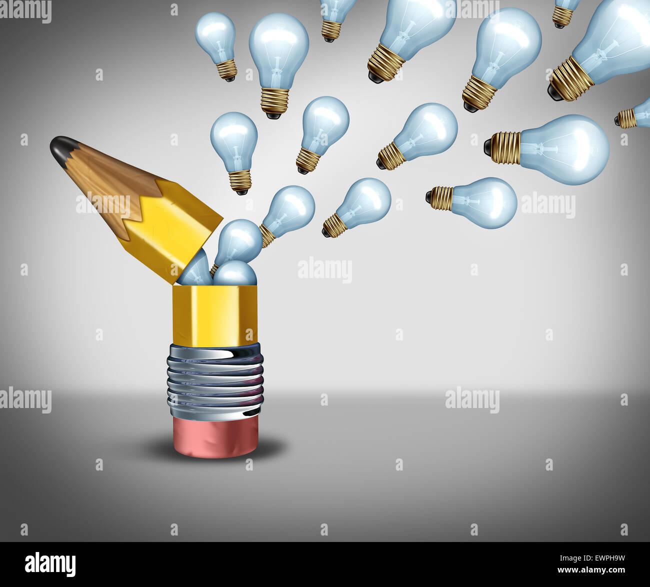 Offene Kreativität Idee Konzept als eine Phantasie-Symbol für out of the Box denken als ein Bleistift Stockbild