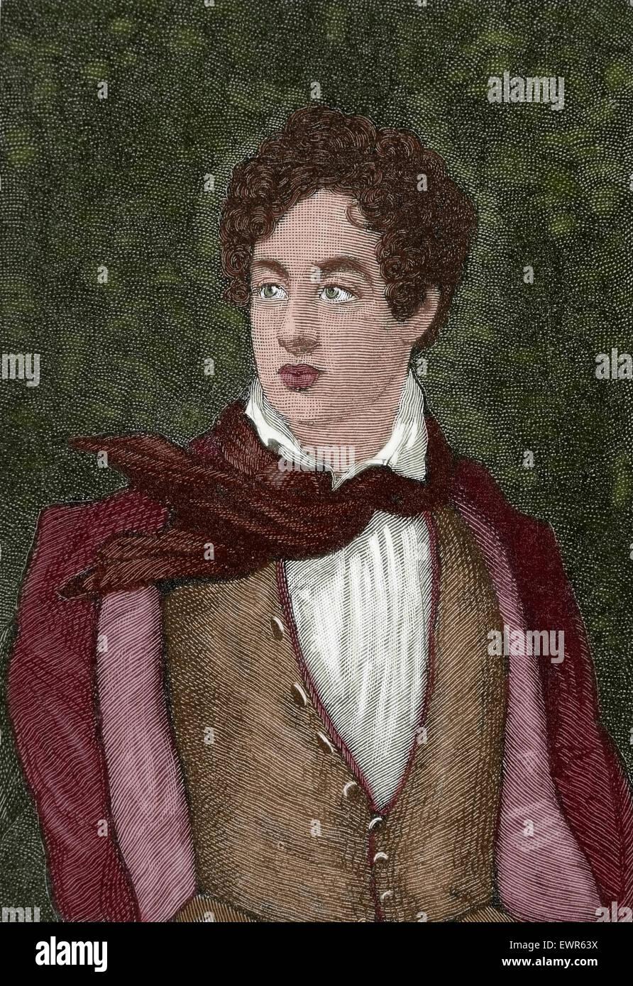 Lord Byron (1788-1824). Englischer Dichter. Romantischen Bewegung. Gravur. Farbige. Stockbild