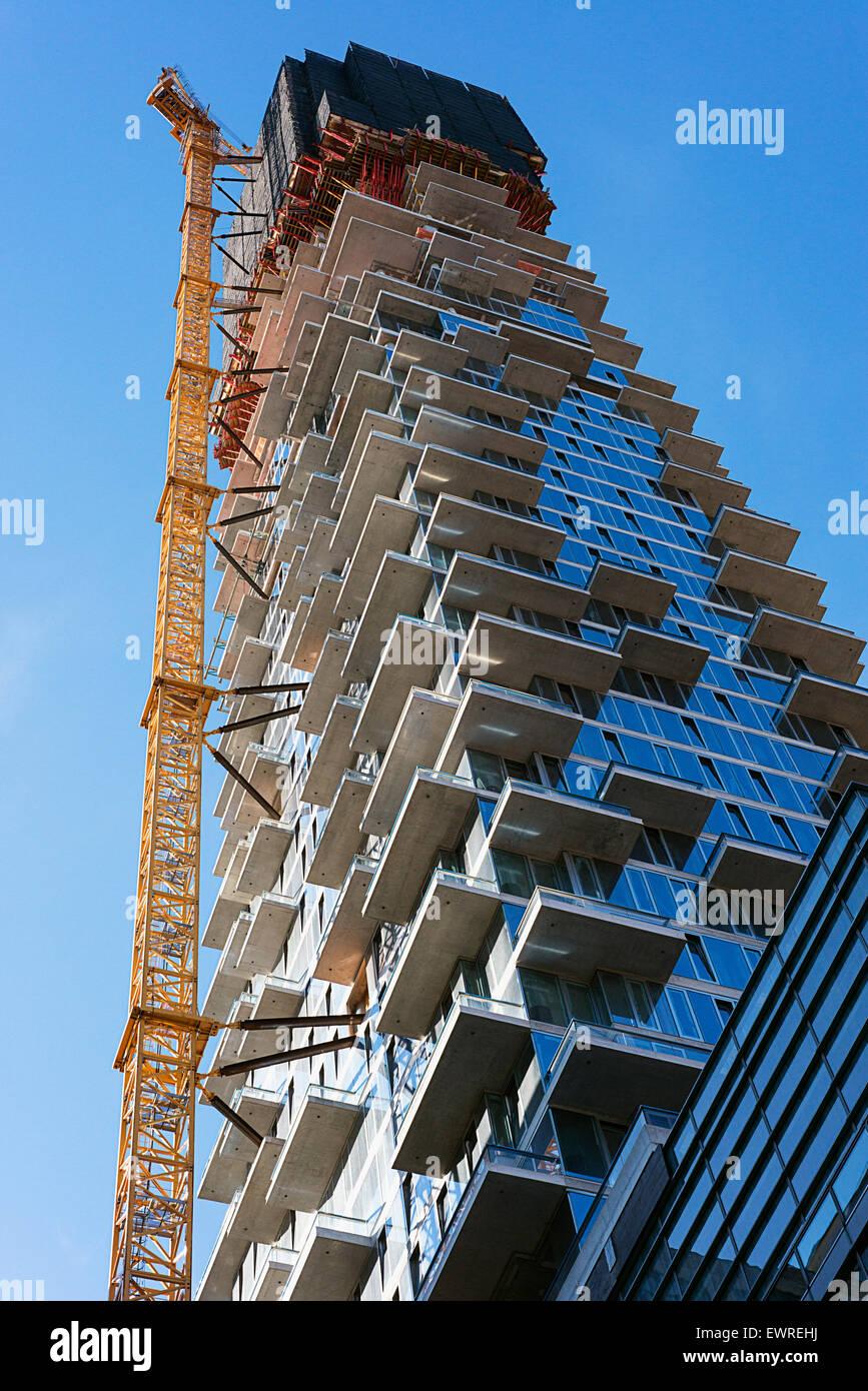 Bau Immobilien in New York City. Das Gebäude der 56 Leonard Street Eigentumswohnungen im Stadtteil Tribeca, Stockbild