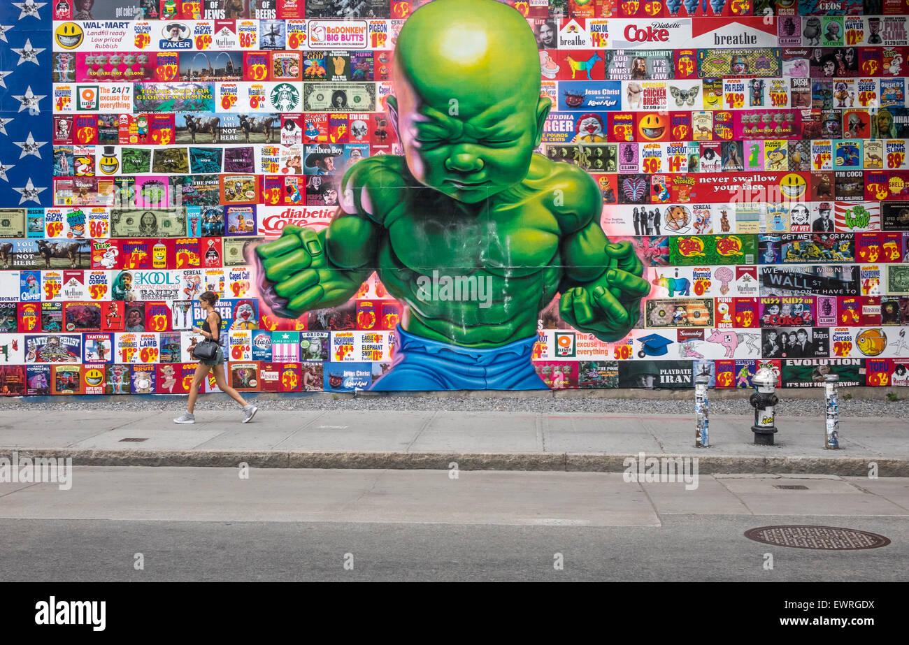 Temperament Tot Wandbild auf der Houston Street in New York City Stockfoto